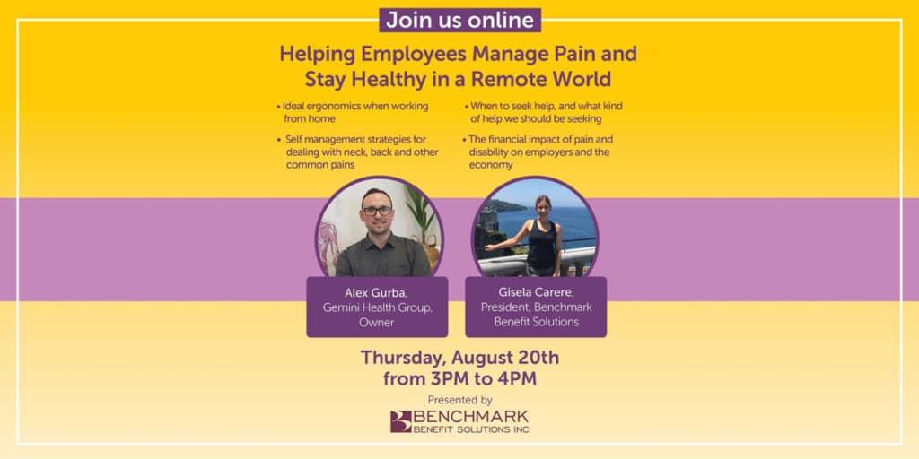 Helping Employees Manage Pain and Stay Health in a Remote World - Helping Employees Manage Pain and Stay Healthy in a Remote World - Gemini Health Group - Richmond Hill Physiotherapy & Wellness - Most Trusted And Respected Provider Of Physiotherapy And Wellness Services In York Region