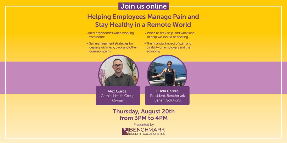 Helping Employees Manage Pain and Stay Health in a Remote World w - Videos - Gemini Health Group - Richmond Hill Physiotherapy & Wellness - Most Trusted And Respected Provider Of Physiotherapy And Wellness Services In York Region